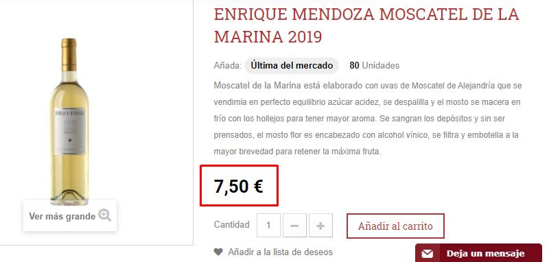 Precio vino blanco dulce Marina 2019